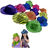 Original Gangster Hats - Cool Plastic Neon Vintage Animal Pattern Gangster's Hats 24 Pack for Kids and Adults BBQ's | Birthdays | Concerts - Trendy Multicolored Novelty Rave Hats with Animal Prints