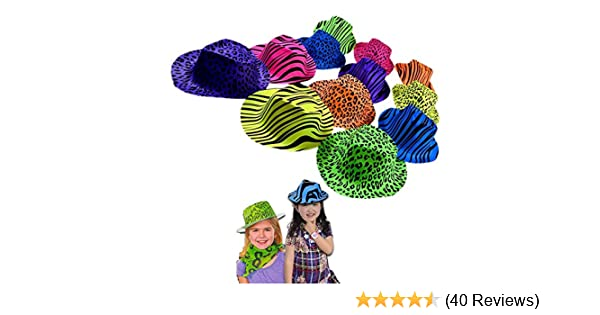 Birthdays Concerts 12 Pack Original Gangster Hats Cool Plastic Neon Vintage Animal Pattern Gangsters Hats 12 Pack for Kids and Adults BBQs Trendy Rave Hats with Animal Prints