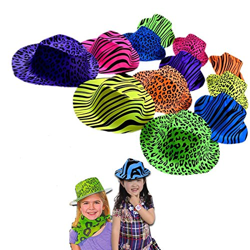 12 Pack Original Gangster Hats - Cool Plastic Neon Vintage Animal Pattern Gangster's Hats 12 Pack for Kids and Adults BBQ's | Birthdays | Concerts - Trendy Rave Hats with Animal Prints