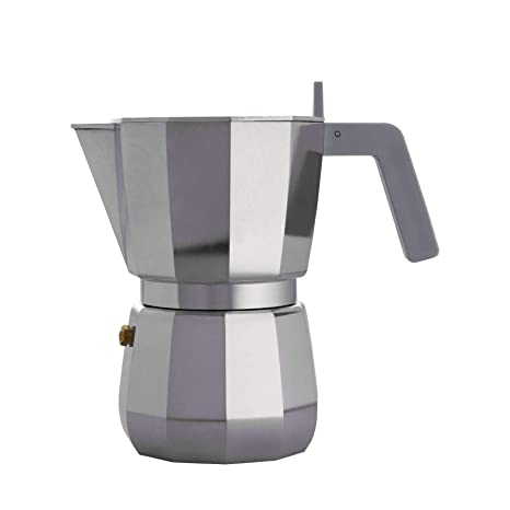 Alessi Espresso Coffee Maker in Aluminium Casting. Handle and knob in PA, Grey. 6 Cup.