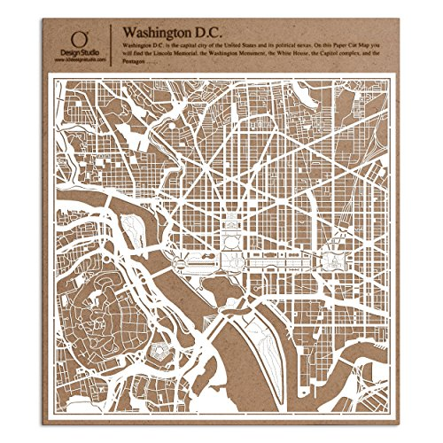 Washington D.C. Paper Cut Map by O3 Design