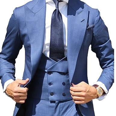 YSMO Herren Slim Blau Anzüge 3 Stück Smoking Jacke   Hose   Weste Business  Blazer ba8d3800c4