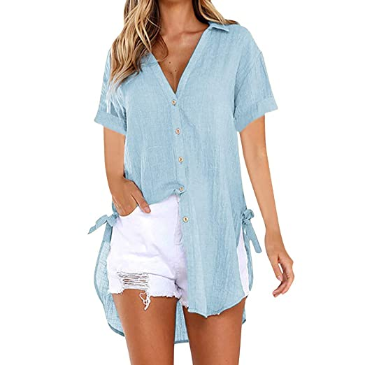 71d14980e2ded9 Womens Shirts Short Sleeve Button Down Tops Summer V Neck Loose Casual  Plain Tunic T Shirts