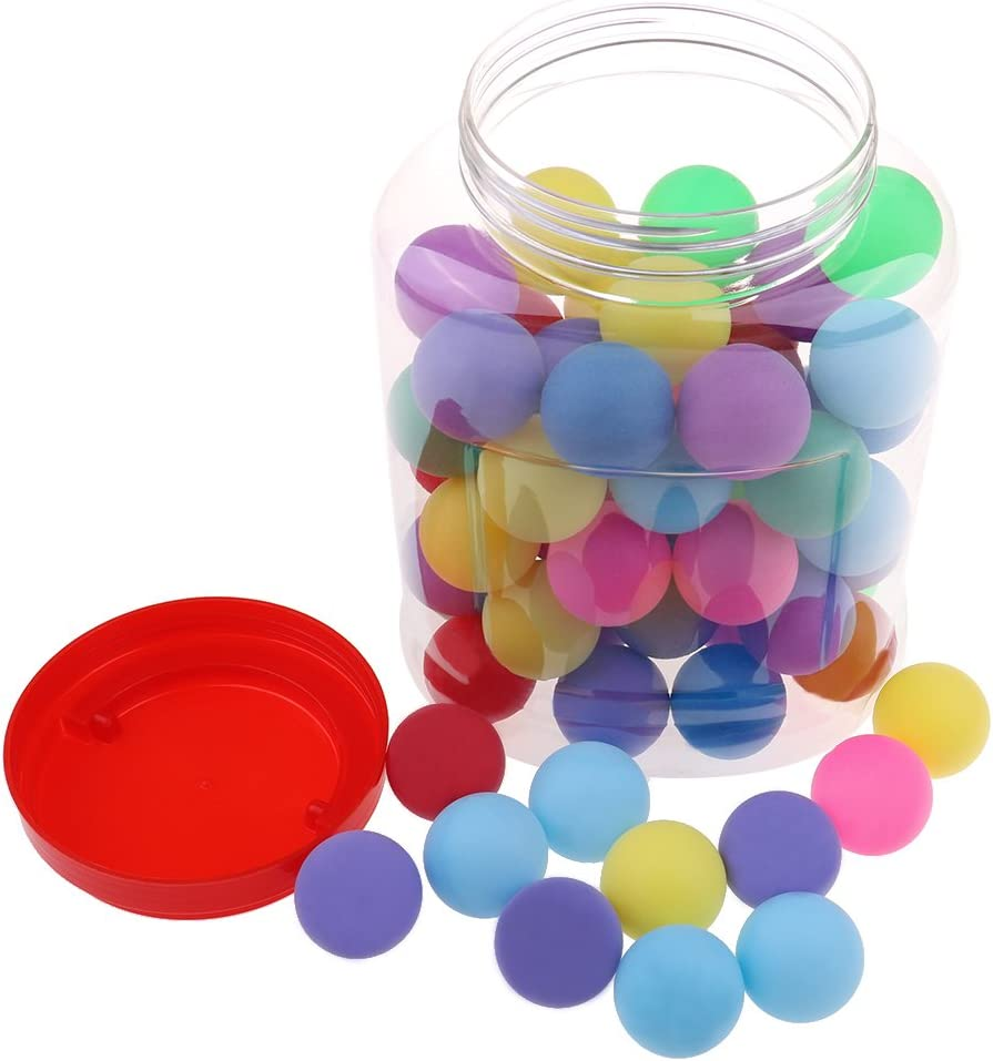 Buytra 60 Pack Colored Beer Ping Pong Balls 40mm with Storage Holder, Plastic Table Tennis Ball for Party Favors, Carnival Games, Crafts, Cats Dogs Toy