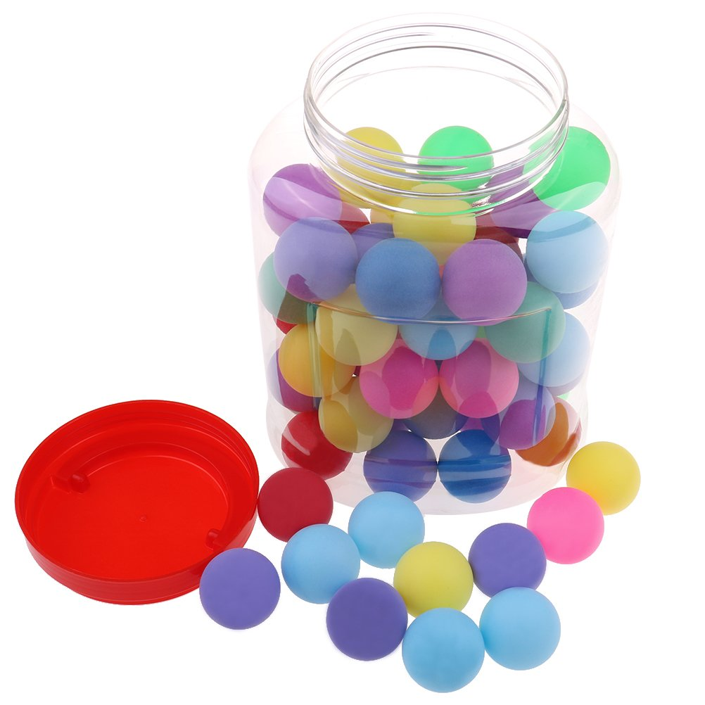 Buytra 60 Pack Colored Beer Ping Pong Balls 40mm with Storage Holder, Plastic Table Tennis Ball for Party Favors, Carnival Games, Crafts, Cats Dogs Toy by Buytra