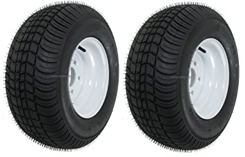 Dos remolque neumáticos y llantas 20,5 x 8 x 10 205/65 - 10 20,5/8 - 10 20,5/800 - 10 5lug blanco: Amazon.es: Coche y moto