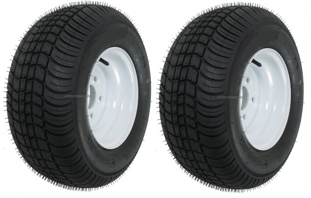 Two Trailer Tires & Rims 20.5 8 10 205/65-10 20.5/8-10 10'' 5 Bolt E Wheel White