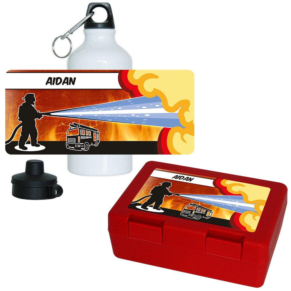 Eurofoto Brotdose + Trinkflasche Set mit Namen Aidan und Feuerwehr-Motiv für Jungs   Aluminium-Trinkflasche   Lunchbox   Vesper-Box