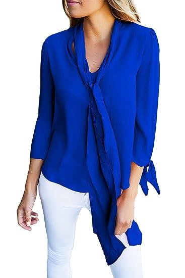 New Royal azul camisa de la blusa con cuello corbata de para ...
