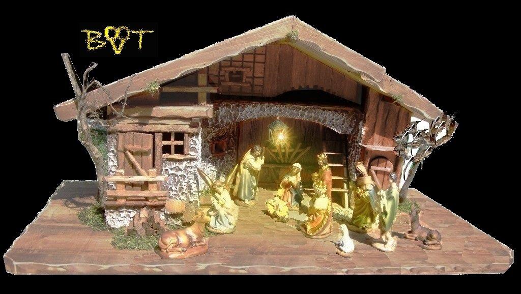 XL Weihnachtskrippe mit Zubehör, BTV Ausführung  massiv massiv massiv Vollholz Massivholz Krippe Krippenstall KOMPLETT mit Figuren with figures K60MF Betlehem d147cf