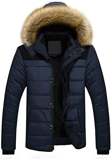 Mens Winter Jacket Thick Fleece Warm Coat Men Fur Hooded Collar Large Size Parka Windbreaker