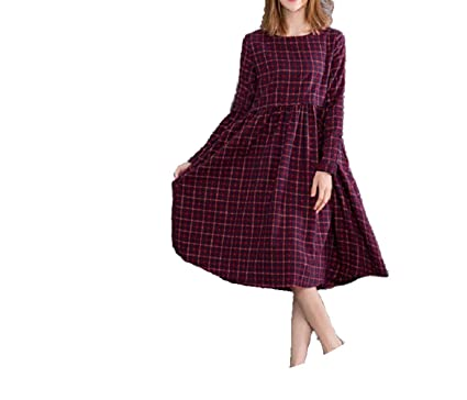 Autumn Women Midi O Neck Plaid Vestidos Long Sleeve Retro Cotton Linen Dress M L XL 2XL