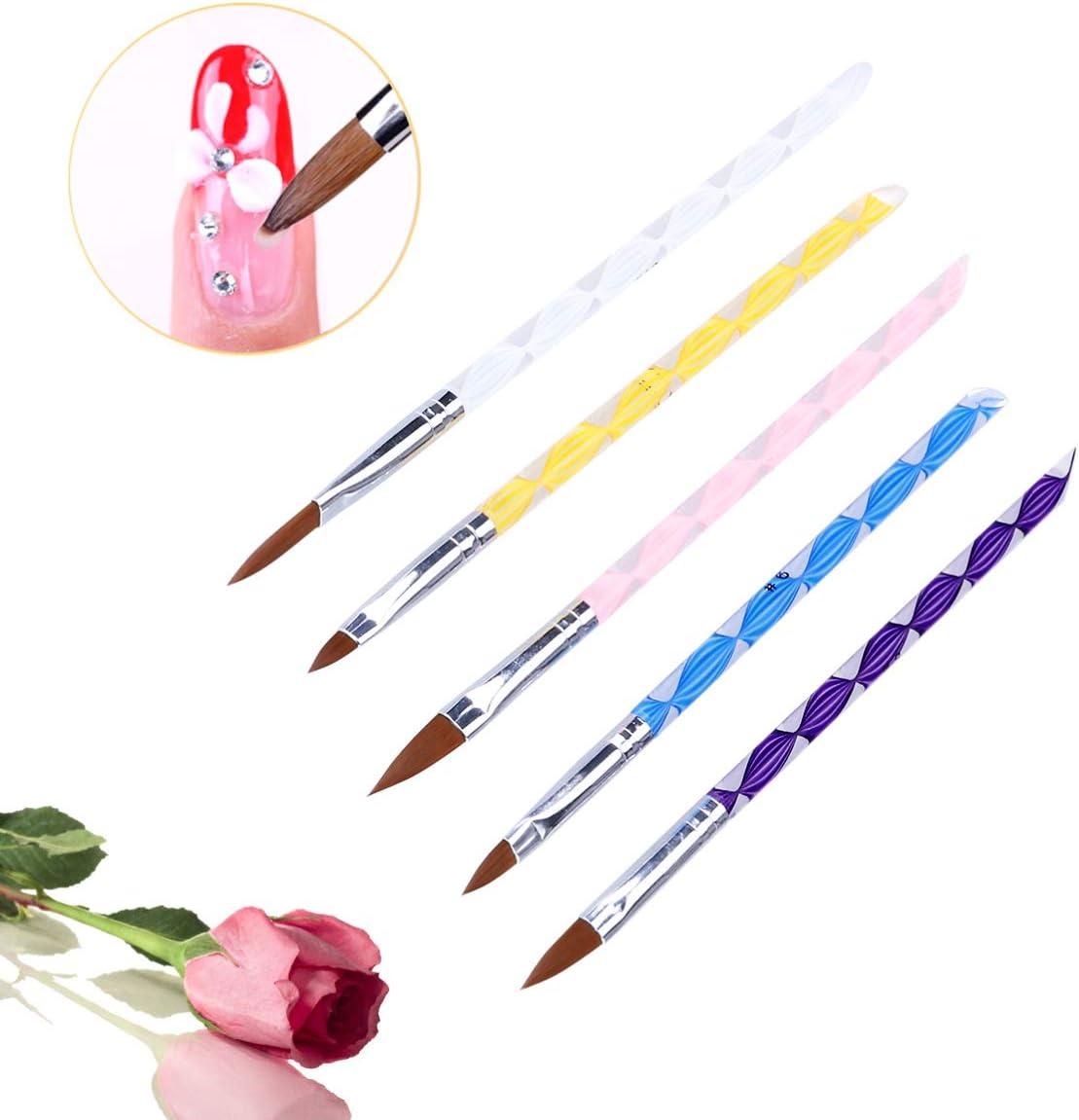 Acrylic Nail Art Pen Brush Nail Polish Tool Foldable Nail Decorating Tool Gel Carving Pen DIY, 5pcs