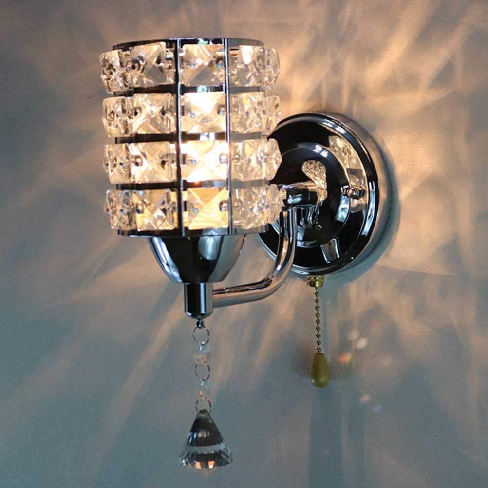 Uonlytech Wall Lamp Metal Glass Crystal Design Wall Decor Creative Art Bedside Lamp Mirror Headlight Bedroom Power (Silver) - - Amazon.com