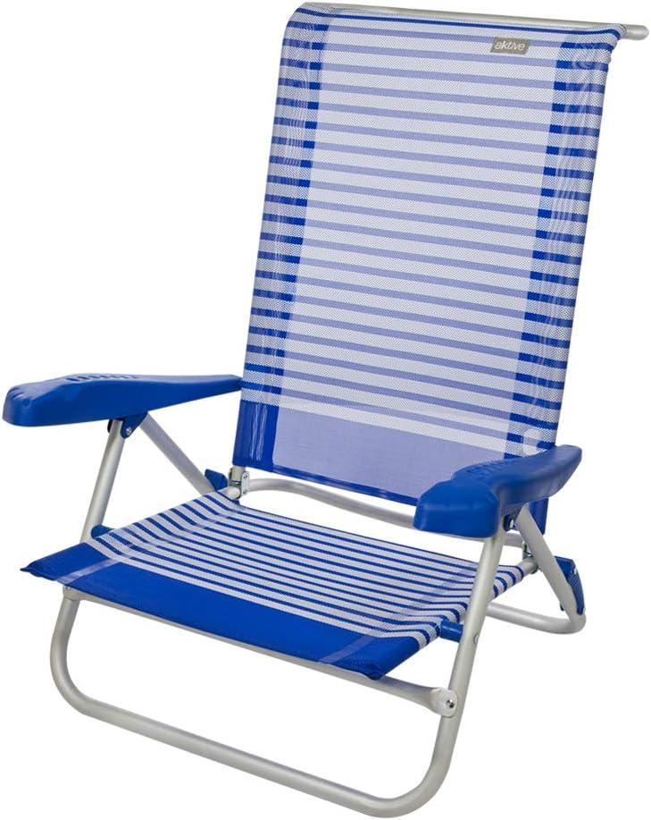 Aktive 53980 Silla plegable aluminio para la playa, 7 posiciones con asas 73 x 64 x 80 cm