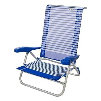 Aktive 53980 Silla Plegable Aluminio para la Playa, 7 Posiciones con Asas, 73 x 64 x 80 cm