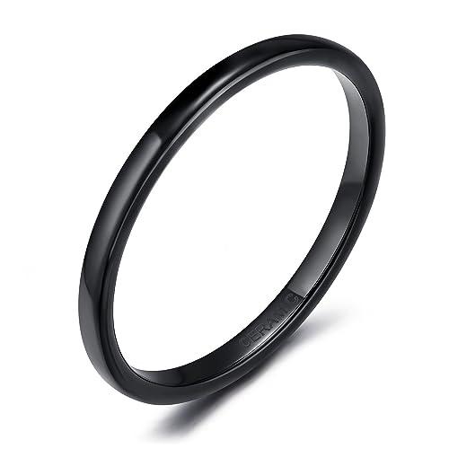 somen tungsten 2mm 4mm 6mm black white ceramic rings for men women