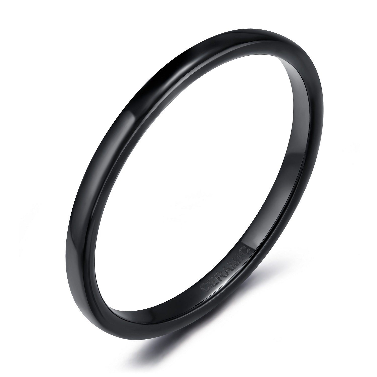 SOMEN TUNGSTEN 2mm 4mm 6mm Black/White Ceramic Rings for Men Women Comfort Fit Engagement Wedding Band Size 4-12 by SOMEN TUNGSTEN (Image #1)