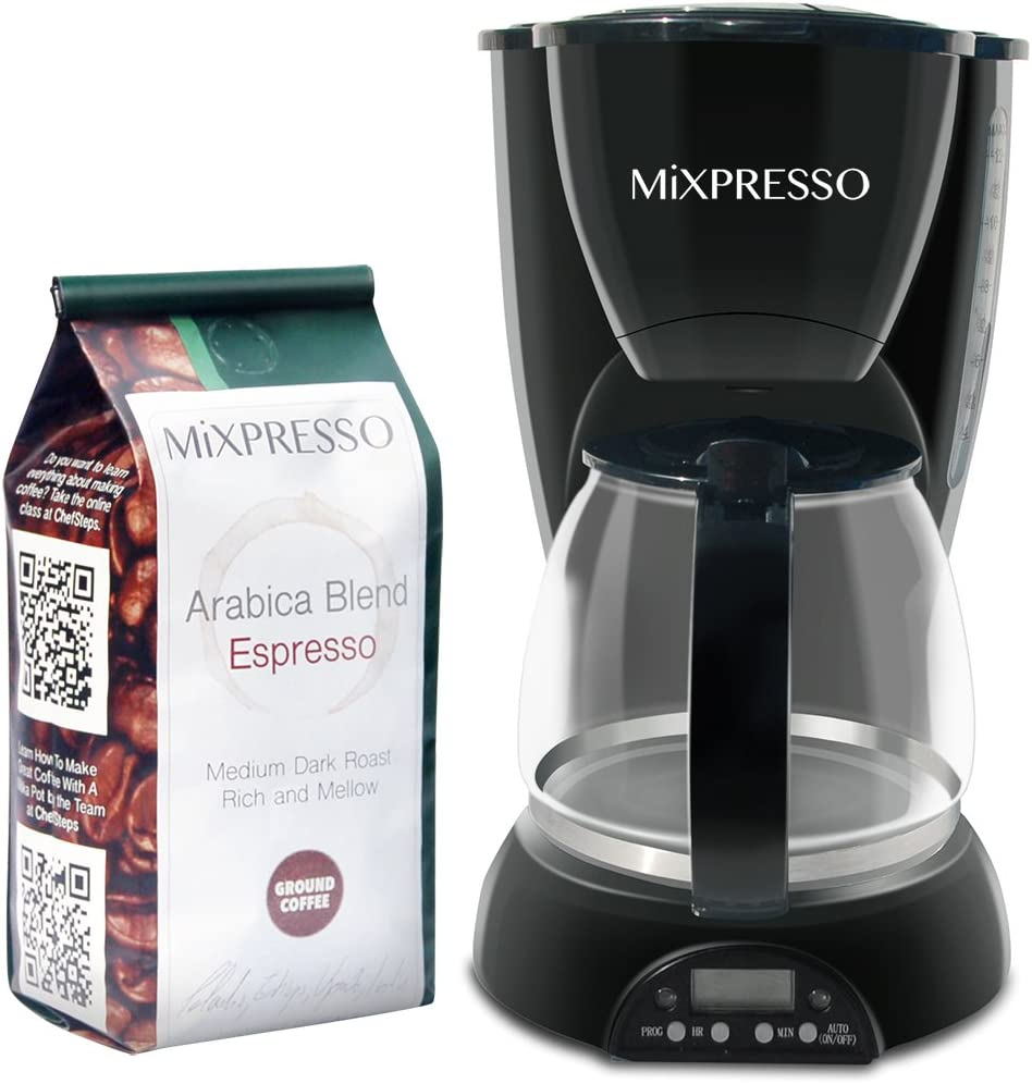 8-Cup Drip Coffee Maker Programmable, Coffee Pot Machine Including Reusable And Removable Coffee Filter - By Mixpresso