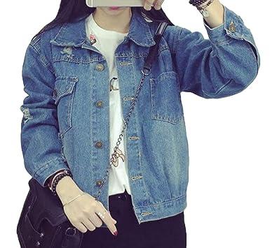 12654e78334f1 GRMO Women Long Sleeve Destroyed Baggy Lapel Boyfriend Denim Jacket ...
