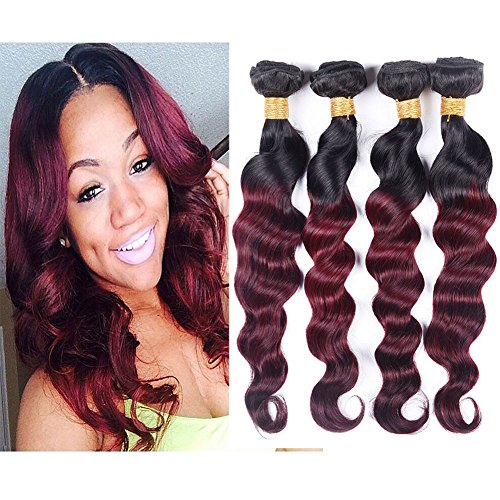 Black Rose Hair Peruvian Loose Wave Ombre Hair Extensions...