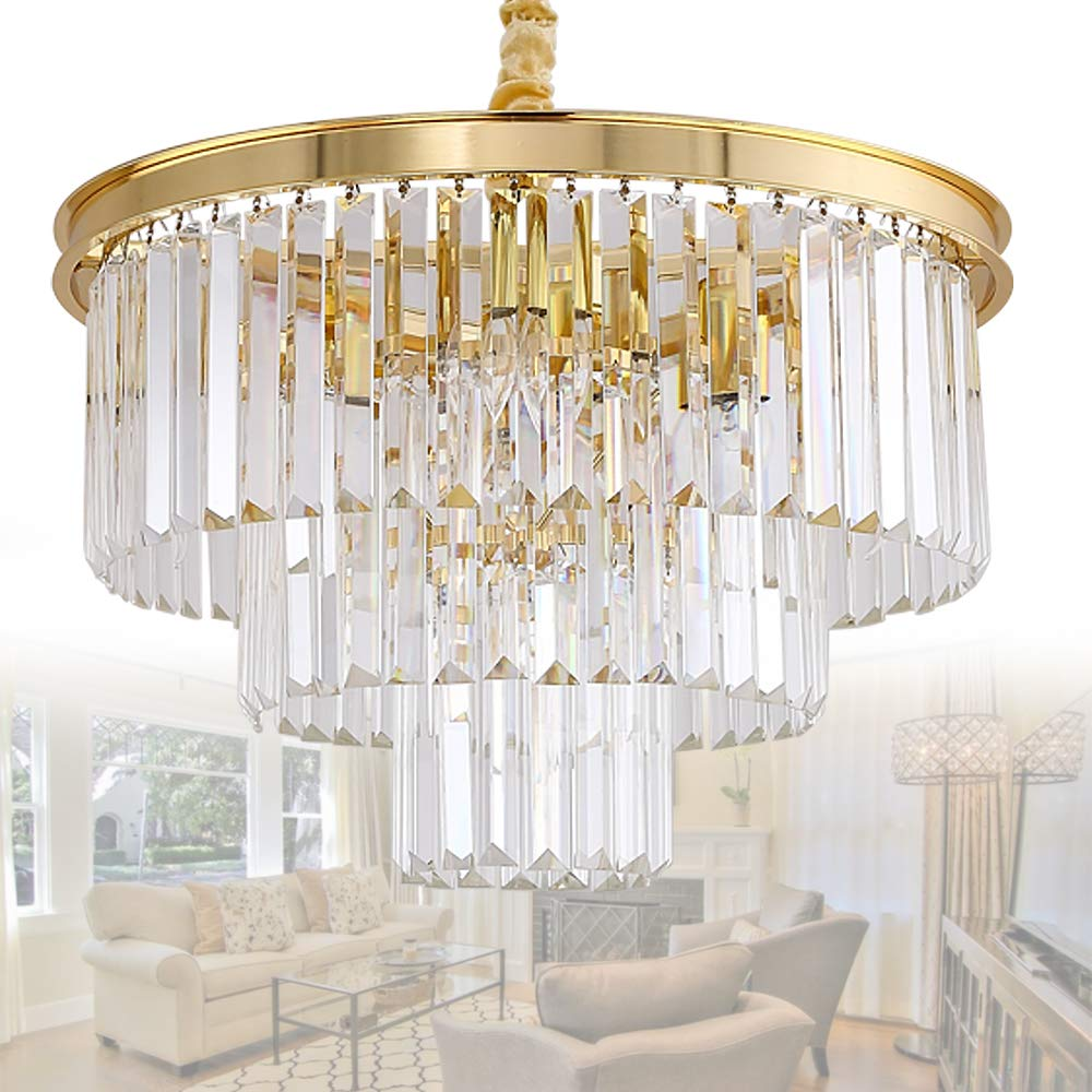 Meelighting crystal gold plated modern chandeliers lights vintage pendant ceiling light chandelier lighting fixture 3 tier 8lights for dining room