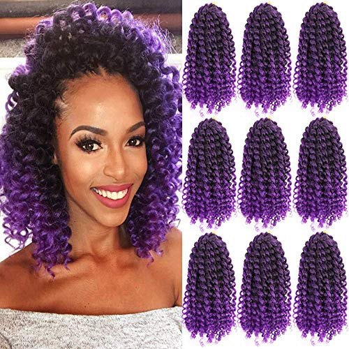 Marlybob Synthetic Crochet Braiding Hair curly Crochet Hair Braids Kinky Curl Hair Bundles for Black Women 9 Packs/lot Ombre Marlybob Crochet Hair 8 Inch (1B/Purple#) for $<!--$15.90-->
