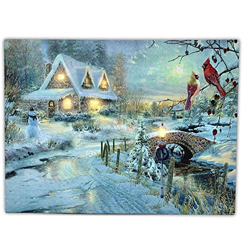 BANBERRY DESIGNS LED Canvas Art Print Wall Decoration - Village Cottages Along a Stream Christmas Scene with Cardinals and Snowman - Old Fashioned Cobblestone Bridge - 11.75 x15.75 Inch (Print Thomas Christmas Kinkade Cottage)