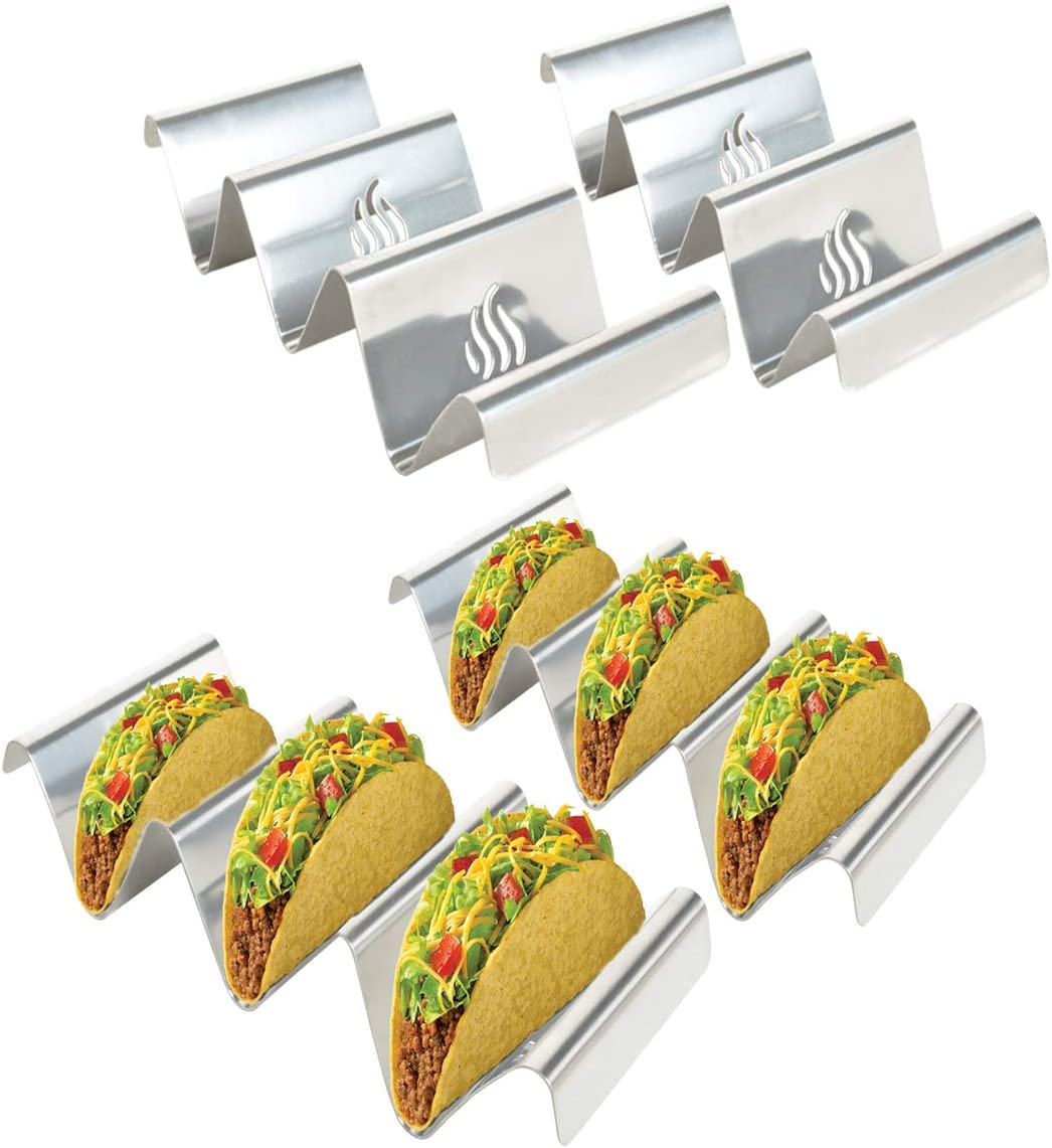 Skyflame 4 Pack Stainless Steel Taco Holders, Each Taco Rack Holds 3 Tacos, Taco Stand Up Holder, Taco Trays, Taco Shell Holder with Unique Flame Marks, Oven Grill Baking, Dishwasher Safe