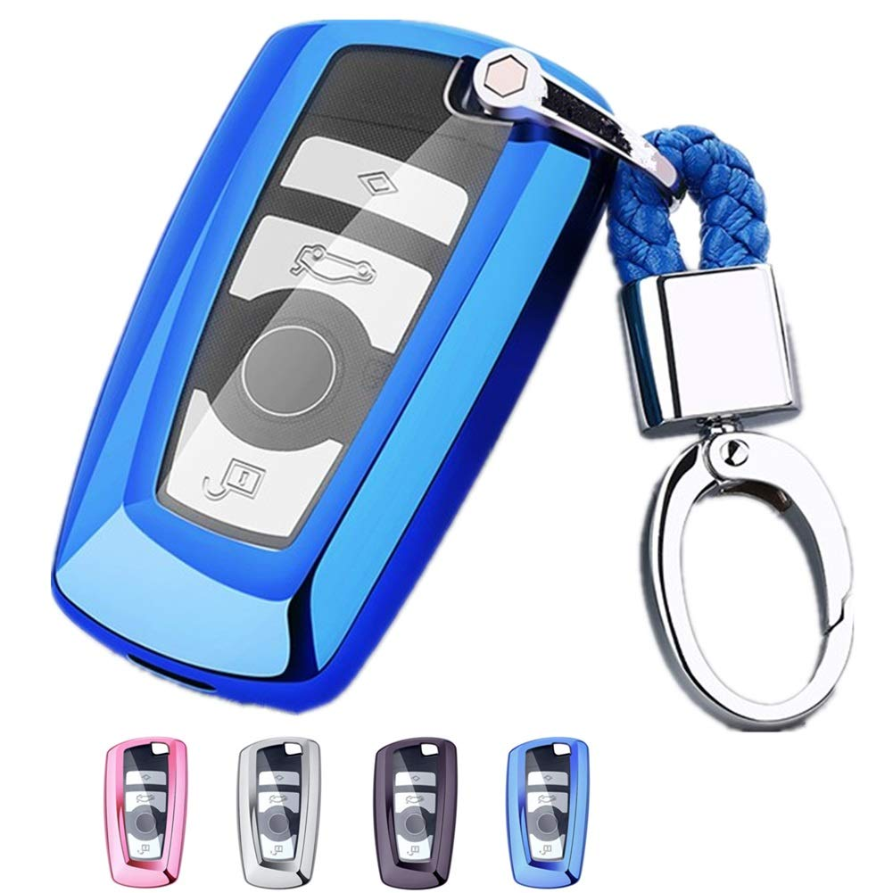 Pink Mofei for BMW Key Fob Shell Cover Case TPU Full Protector Holder with Key Chain Compatible with BMW 1 3 4 5 6 Series X3 X4 M2 M3 M4 GT Smart Key Remote Keyless Entry