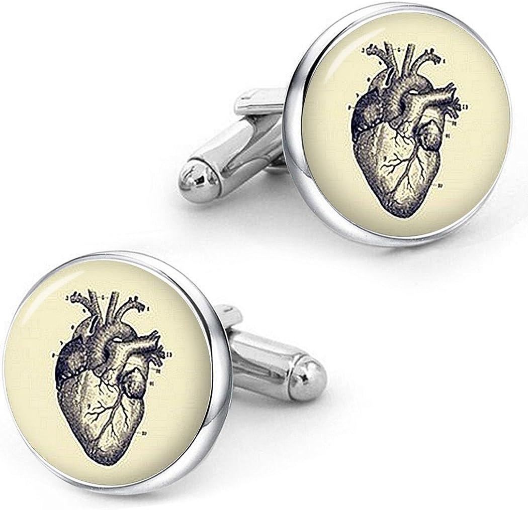 Kooer Vintage Human Anatomy Cufflinks Anatomical Lungs Heart Cells Kidney Brain Bones Spine Eye Cuff Links