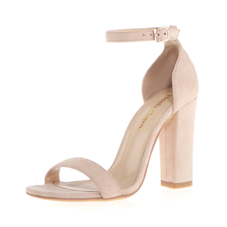 Velvet Nude Heels Charm Women's Strappy Chunky Block High Heel Open Toe Heeled Sandals Ankle Strap Dress Sandal
