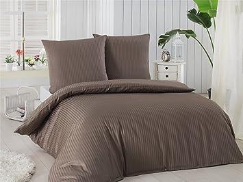 Damast Mako Satin Bettwäsche Set   Bettdeckenbezug 200x220 Cm, Mit 2  Kopfkissenbezüge