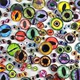Bulk Glass Eye Lot of 100 - Discount Wholesale 50 Pairs in Mixed Sizes and Random Designs - Flatback Cabochons - Fantasy Steampunk Glass Eyes for Jewelry Making Art Doll Sculptures and More