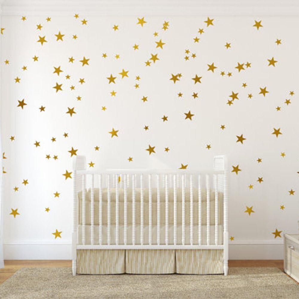 "54 pcs Removable Vinyl Sparkling Star Wall Decals DIY Glitter Stars Wall Stickers Murals Star Sticker for Home Walls Kids Room Bedroom Living Room Bathroom Boys Girls Decor 2.5"" 6 Sheets (Glod)"