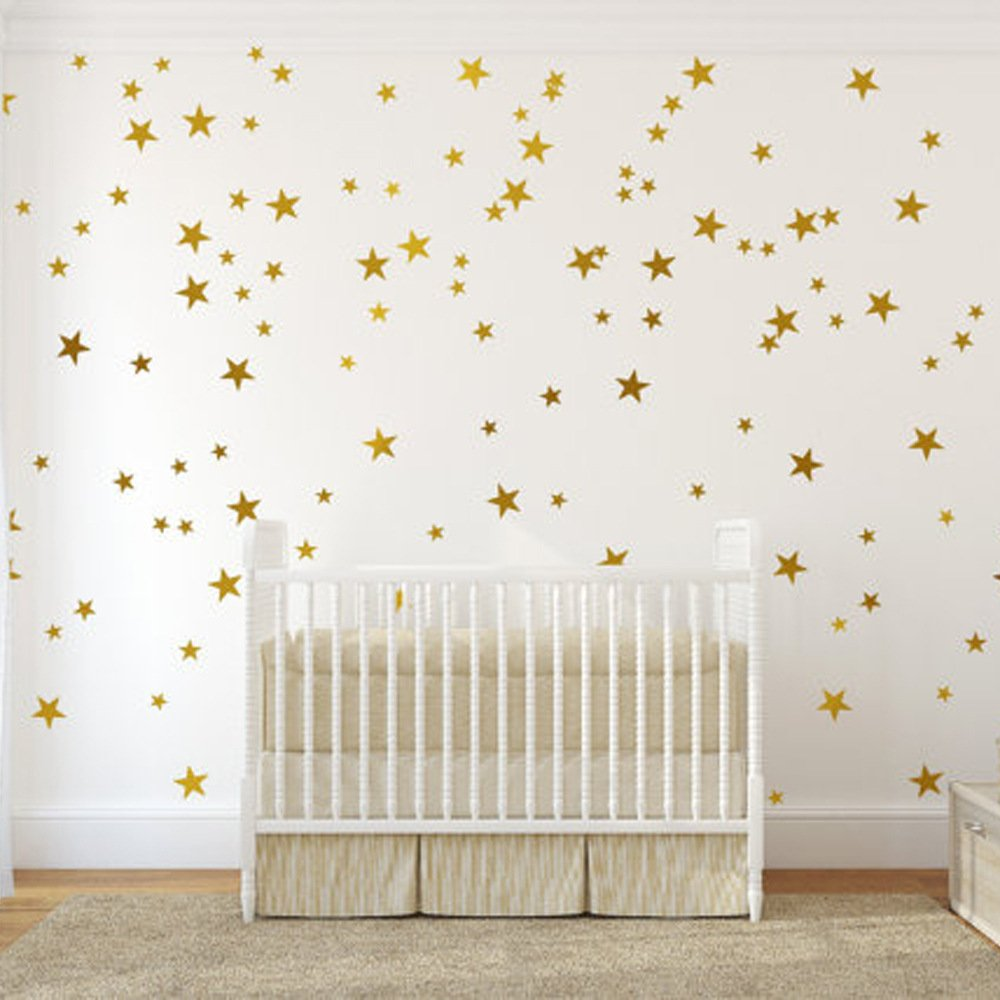 54 pcs Removable Vinyl Sparkling Star Wall Decals DIY Glitter Stars Wall Stickers Murals Star Sticker for Home Walls Kids Room Bedroom Living Room Bathroom Boys Girls Decor 2.5'' 6 Sheets (Glod)