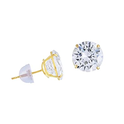 cce0464a1 Amazon.com: 14k Yellow Gold CZ Solitaire Round Stud Earrings Earring Studs  Push Back Silicone Basket Cubic Zirconia 3 mm: Jewelry
