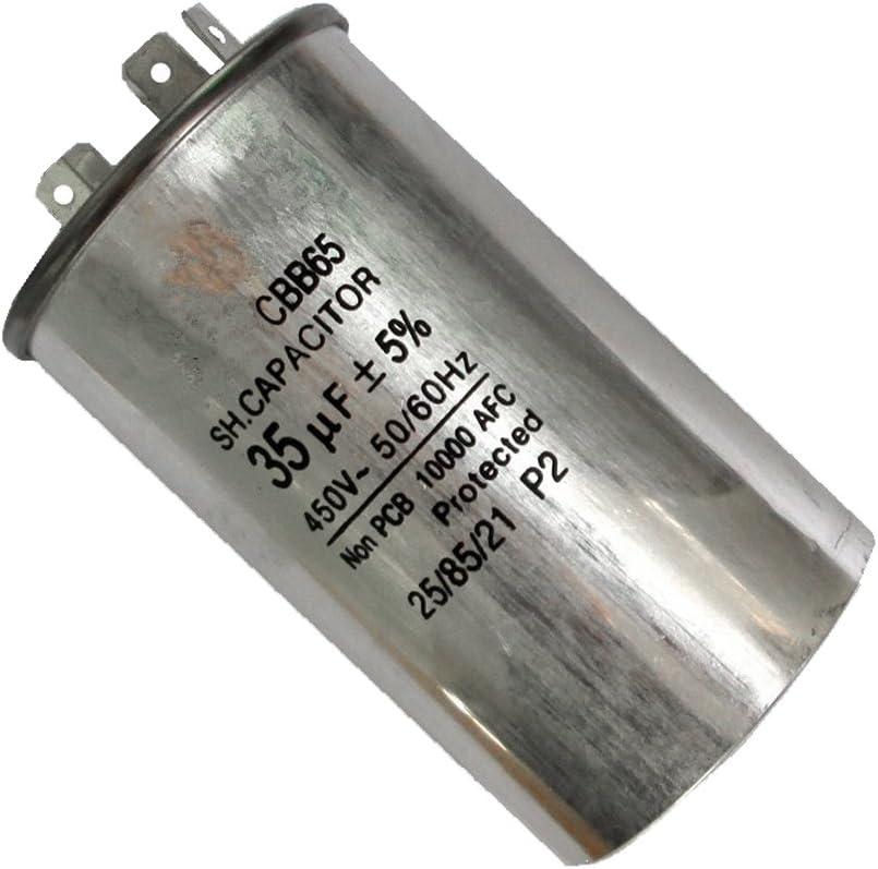 2 Pcs Condensatore Motore Rotondo Avviamento Macchinario Industriale 35UF 450V 50 60Hz Argento