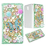 Evtech(tm) Butterfly Colorful Rhinestone Bling Crystal Glitter Book Style Folio PU Leather Wallet Case with Handbag Phone Holder & Card Slots for Samsung Galaxy Note 4