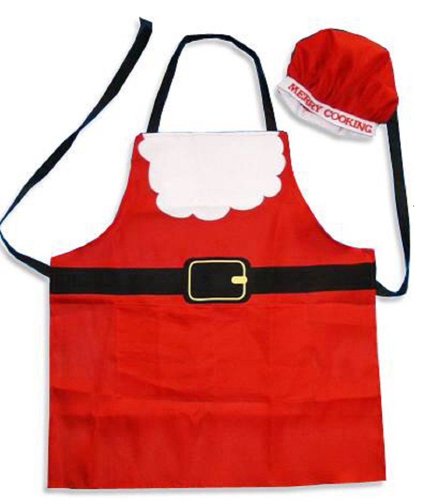 Santa Christmas apron and hat set Hapros