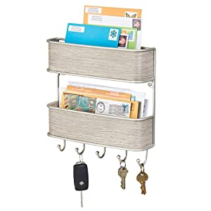 mDesign Wall Mount Metal Mail Organizer Storage Basket - 2 Tiers, 5 Hooks - for Entryway, Mudroom, Hallway, Kitchen, Office - Holds Letters, Magazines, Coats, Keys - Satin/Gray Wood Finish