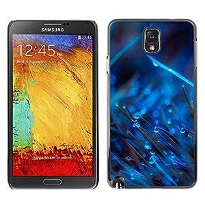 SAMSUNG Galaxy Note 3 III / N9000 / N9005 , Radio-Star - Cáscara Funda Case Caso De Plástico (Blue Drops On Grass)