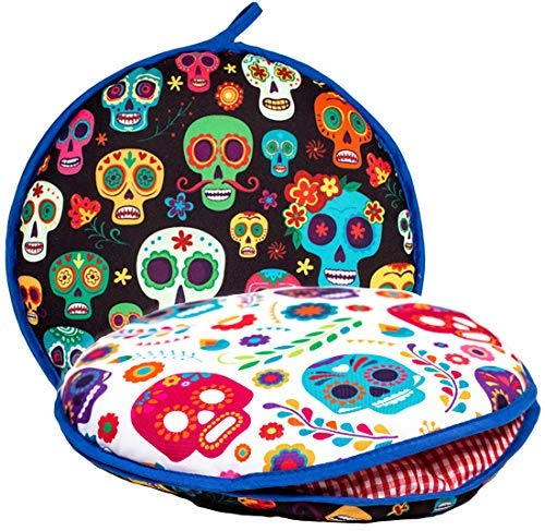 """Largest! TWO SIDED Tortilla Warmer, 12"""" Insulated and Microwaveable, Fabric Pouch Keeps Them Warm for up to One Hour! Perfect Holder for Corn & Flour, Insulated Keeper! By ENdeas ()"""