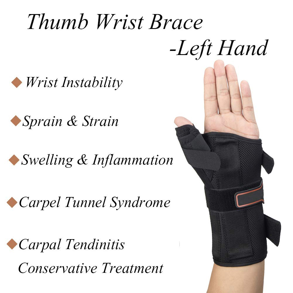Thumb & Wrist Spica Splint, Adjustable Supportive Wrist Braces for Arthritis, Carpal Tunnel, Soft Tissue Injuries & Trigger Thumb Immobilizer Medium-Left by Medibot (Image #5)