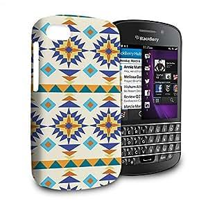 Phone Case For Blackberry Q10 - Sante Fe Tribal Gold & Blue Glossy Premium