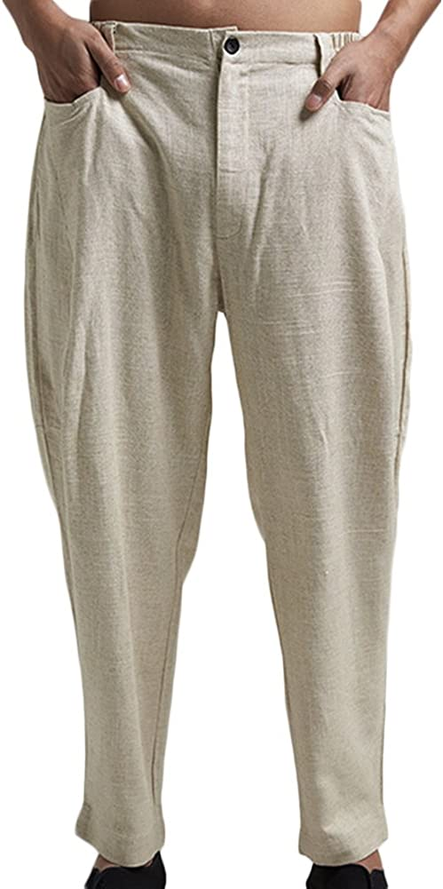 ONCEFIRST Mens Fitted Linen Harem Pants Elastic Waistband Cotton Linen Pants