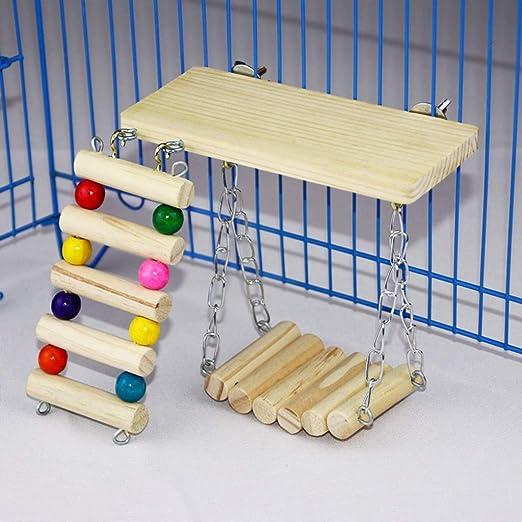 Columpio de madera, escalera para pájaros, hámster para mascotas ...