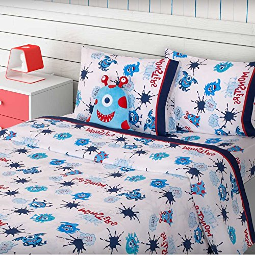 LIMITED EDITION LITTLE MONSTERS KIDS BOYS BUNKBED COMFORTER AND SHEET SET 5 PCS TWIN SIZE