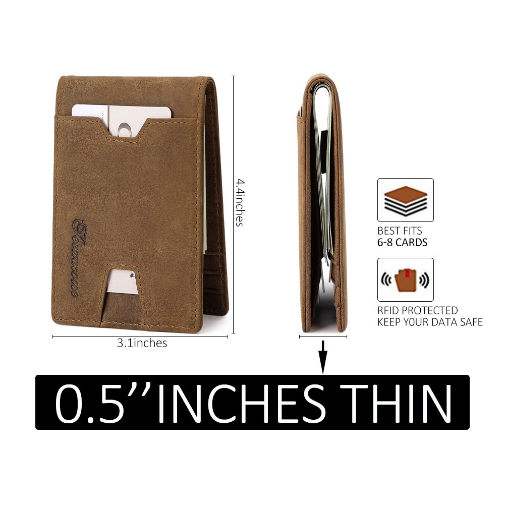 Mens Wallet slim Front Pocket RFID Blocking Card Holder Minimalist Mini Bifold Gift Box by teemzone (Image #5)