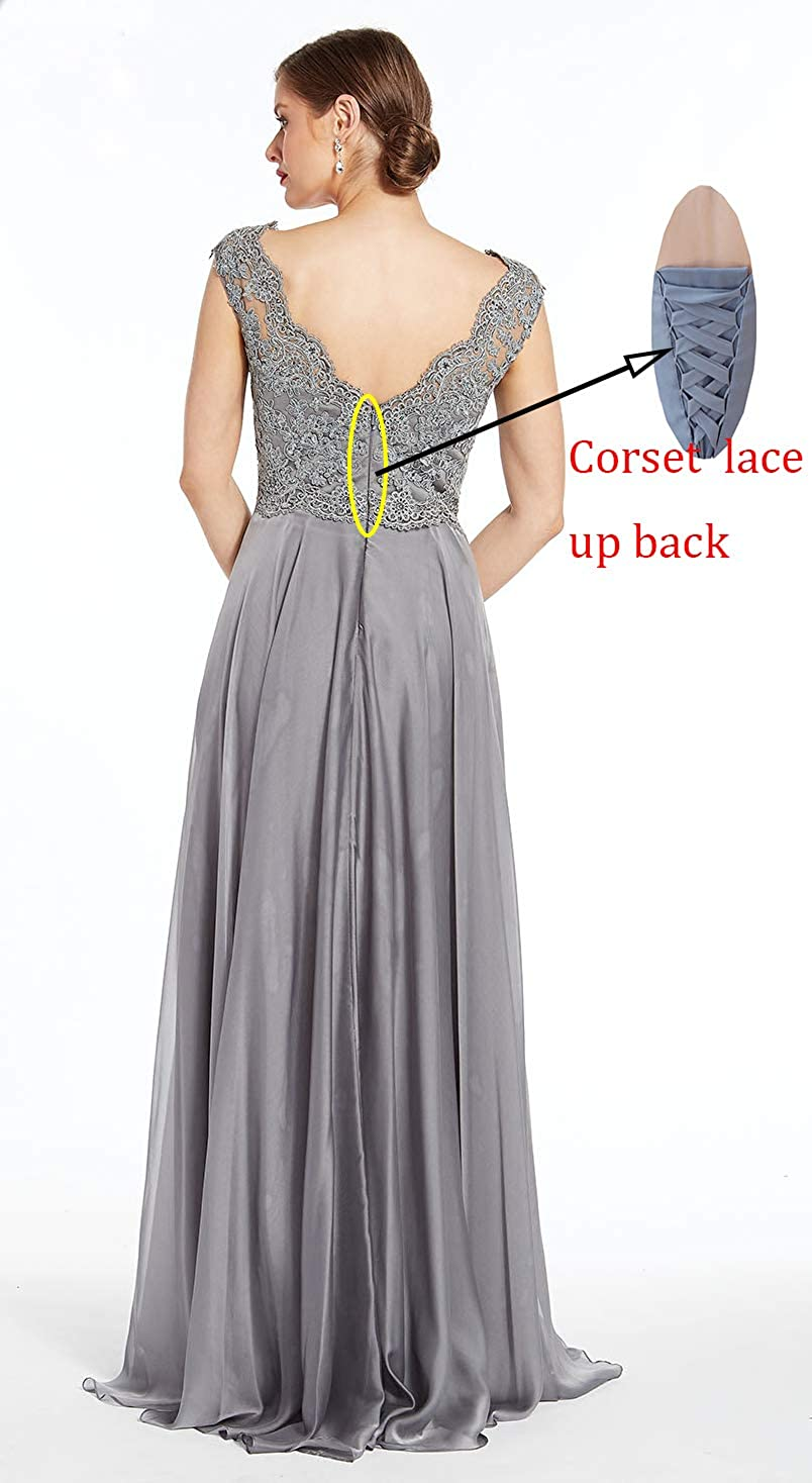 Women's Lace Bodice V-Neck Mother of The Bride Dress Chiffon Long Formal Evening Gown Sky Blue